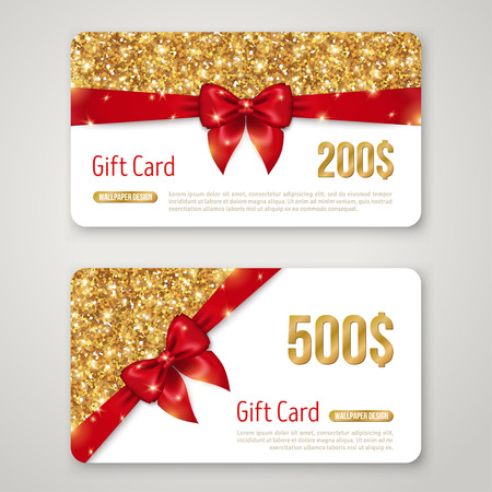 Gift Card Design with Gold Glitter Texture and Red Bow. Invitation Decorative Card Template, Voucher Design, Holiday Invitation. Glowing New Year or Christmas Backdrop. Certificate for Shopping. Vettoriali