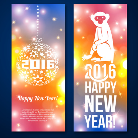 tarjetas a�o nuevo: Happy New Year Cards design. Vector illustration. Blurred colorful background. Abstract Monkey icon. Ball with 2016 numbers. Place for your text message. Merry Christmas. Flare lights, bokeh.