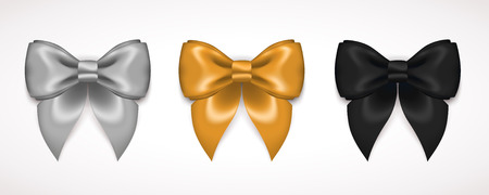 black bow: Ribbon Satin Bow Set Isolated on White. Vector Illustration. Black Bow, Glowing Gold Bow, Shining Silver Bow. For Invitation Holiday Card Templates, Voucher Design, Christmas Invitation Design.