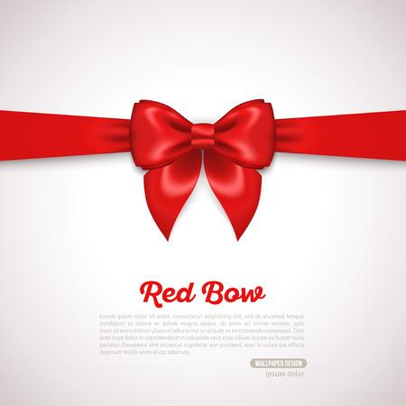 ギフト カード デザインとテキストのための場所で赤の弓。ベクトルの図。招待状装飾的なカードのテンプレート、伝票デザインは休日招待状のデザ