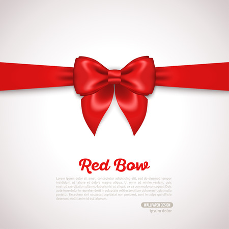 red ribbon bow: Gift Card Design with red Bow with Place for Text. Vector Illustration. Invitation Decorative Card Template, Voucher Design, Holiday Invitation Design.