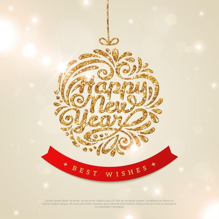 new year: Merry Christmas and Happy New Year Greeting card. Shiny Gold Christmas Bauble with Sequins. Vector illustration. Smooth background with Lights. Wallpaper.