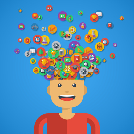 children learning: Creative Concept of Education. Vector illustration. Boy Student with School icons and Symbols Flying from his Head. Back to school. Learning Process. School Icons on Circles Illustration