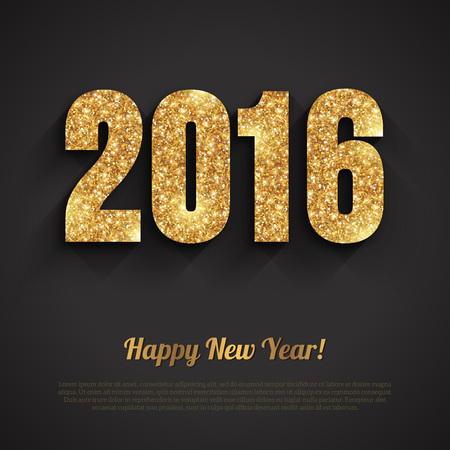are gold: Happy New Year 2016 Golden Greeting Card with Sequins Pattern. Holiday design. Vector illustration. Party poster, greeting card, banner or invitation. Number 2016 formed by glowing gold dust .