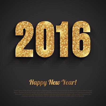 nowy rok: Szczęśliwego Nowego Roku 2016 Złoty Greeting Card z cekinami Pattern. projekt wakacyjny. Ilustracji wektorowych. Strony plakat, kartkę z życzeniami, transparent lub zaproszenie. Liczba 2016 utworzona przez świecące złoty pył. Ilustracja
