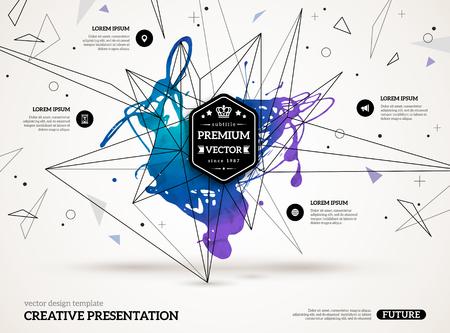 塗料で染色し、幾何学的図形と 3 D の抽象的な背景。ビジネス プレゼンテーション、チラシ、ポスターのベクトル デザイン レイアウト。科学の将来