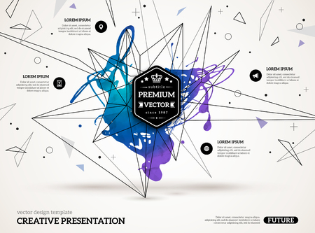 tecnologia: 3D astratto con macchie di vernice e forme geometriche. Vector progettazione di layout per presentazioni aziendali, volantini, manifesti. Futuro tecnologia sfondo scientifico.