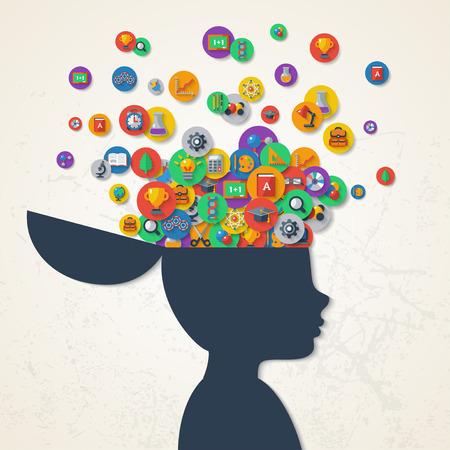 Creatief concept van het onderwijs. Vector illustratie. Jongen silhouet met scholen pictogrammen en symbolen in zijn hoofd. Terug naar school. Leerproces.