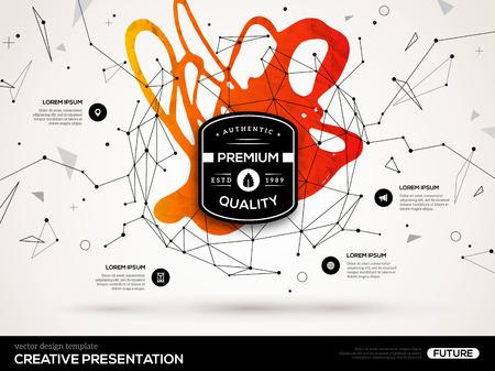 赤いペンキ汚れと低ポリゴン図形と 3 D の抽象的な背景。ビジネス プレゼンテーション、チラシ、ポスターのベクトル デザイン レイアウト。科学の  イラスト・ベクター素材