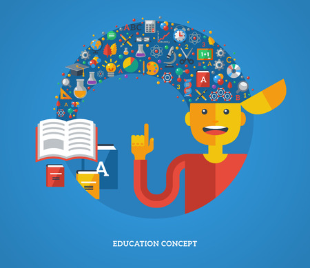 learning process: Creative concept of education. Vector illustration. Boy student with school icons and symbols flying from books into his head. Back to school. Learning process. Illustration