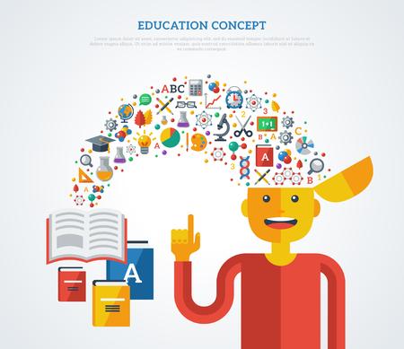 Creatief concept van het onderwijs. Vector illustratie. Jongen student met school pictogrammen en symbolen vliegen uit boeken in zijn hoofd. Terug naar school. Leerproces.