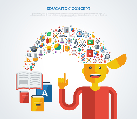 Creative concept of education. Vector illustration. Boy student with school icons and symbols flying from books into his head. Back to school. Learning process. Çizim