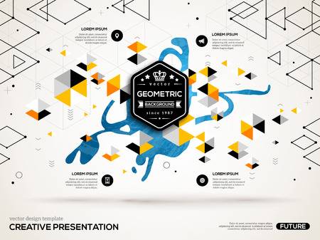 汚し塗装と pentagone の幾何学的な図形と 3 D の抽象的な背景。ビジネス プレゼンテーション、チラシ、ポスターのベクトル デザイン レイアウト。科