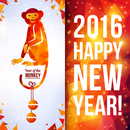 year greetings: Two sides vertical flyer with geometric pattern Monkey. Vector illustration. Chinese astrological sign. New Year 2016. Shining background made up from triangles. Sitting Smiling Monkey Cute Character