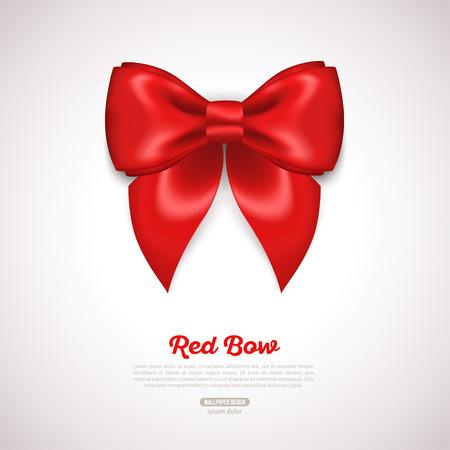 holiday invitation: Red Ribbon Satin Bow Isolated on White. Vector Illustration. Invitation Decorative Card Template, Voucher Design, Holiday Invitation Design.