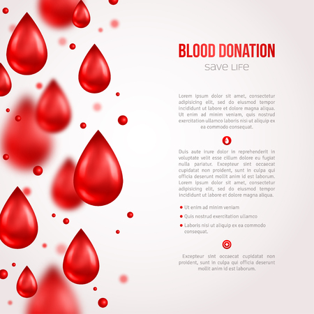 blood: Donor Poster or Flyer. Blood Donation Lifesaving and Hospital Assistance. Vector illustration. World Blood Donor Day Banner. Creative Blood Drops. Medical Design Elements.