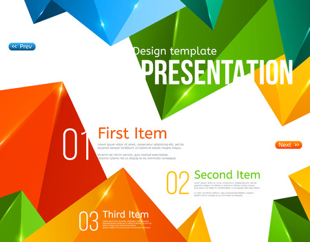 Vector Brochure Template with Colorful Triangles. Vector illustration. Booklet Layout Design Template. Polygonal backdrop with sparkles. Beautiful geometric design for business presentations. Illustration