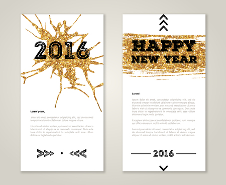 new arrow: Cute New Year 2016 Greeting Cards with Gold Confetti Glitter Texture. Vector illustration. Sequins Pattern. Lights and Sparkles. Glowing New Year or Christmas Backdrop. Golden paint stroke and stain.