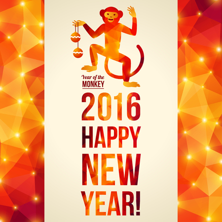 chinese new year decoration: Happy Chinese New Year 2016 Greeting Card. Vector Illustration. Year of the Monkey. Geometric Shining Pattern Frame. Dancing Monkey. Vertical Banner. Illustration