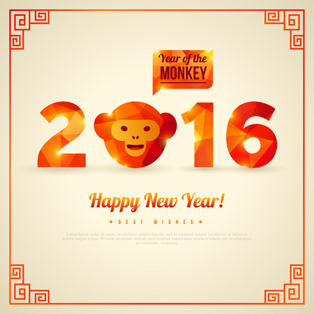 chinese new year decoration: Happy New Year 2016 Greeting Card, Year of the Monkey. Vector illustration. Symbol of 2016. Monkey Head with Triangles Pattern. New Years Banner design. Chinese Decorative Geometric Frame. Illustration