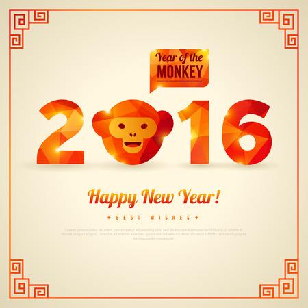 monos: Tarjeta de felicitaci�n feliz a�o nuevo 2016, a�o del mono. Ilustraci�n del vector. S�mbolo de 2016. Mono Cabeza con Tri�ngulos Patr�n. El dise�o de la bandera de A�o Nuevo. Marco geom�trico decorativo chino.