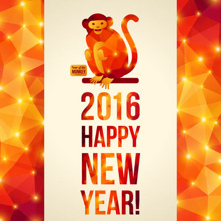 chinese astrology: Happy Chinese New Year 2016 Greeting Card. Vector Illustration. Year of the Monkey. Geometric Shining Pattern Frame. Sitting Monkey.