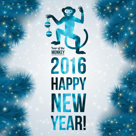 monkeys: Banner con el mono patr�n geom�trico. Ilustraci�n del vector. Signo astrol�gico chino. A�o 2016. Nuevo fondo azul brillante con ramas de abeto.