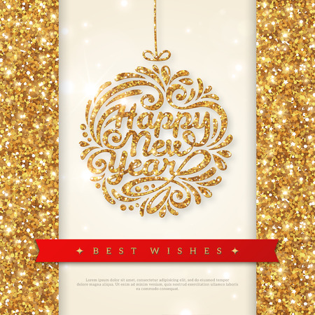 Merry Christmas and Happy New Year Greeting card. Shiny Gold Christmas Bauble with Sequins. Vector illustration. Smooth background with Lights. Wallpaper.