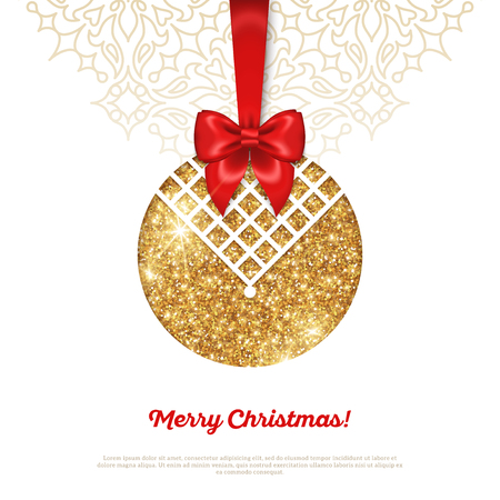 Greeting Card with Shining Gold Bauble and Red Silk Ribbon. Vector illustration. Happy New Year, Merry Christmas, Seasons Greetings.