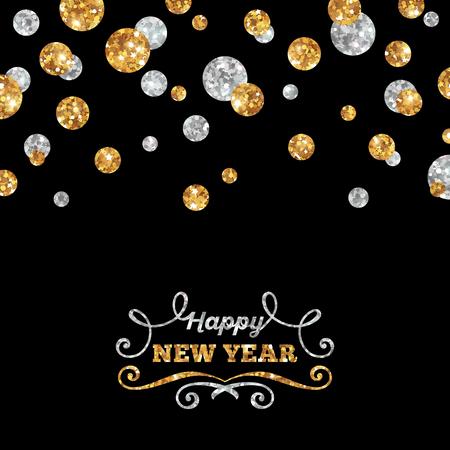 Guten Rutsch ins Neue Jahr Karte mit Shining Gold und Silber Punkte auf schwarzem Hintergrund. Vektor-Illustration. Guten Rutsch ins Neue Jahr Beschriftung mit Curls. Standard-Bild - 45840443