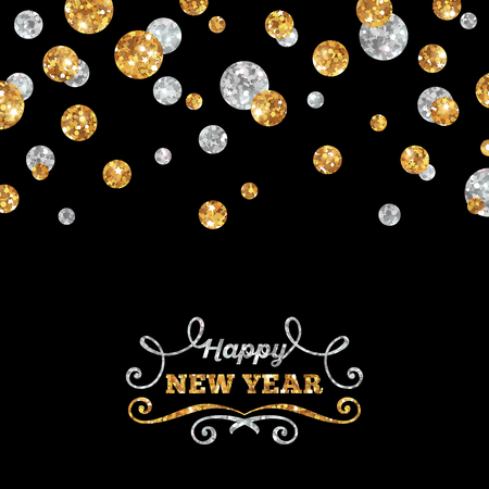 silver: Happy New Year Greeting Card with Shining Gold and Silver Dots on Black Background. Vector illustration. Happy New Year Lettering with Curls.