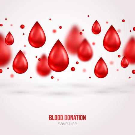 blanco: Donantes cartel o folleto. Donación de Sangre de Salvamento y Socorrismo y Asistencia Hospitalaria. Ilustración del vector. Mundial del Donante de Sangre Día Banner. Sangre creativa gotas. Médico elementos de diseño.