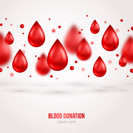 transfusion: Donor Poster or Flyer. Blood Donation Lifesaving and Hospital Assistance. Vector illustration. World Blood Donor Day Banner. Creative Blood Drops. Medical Design Elements.