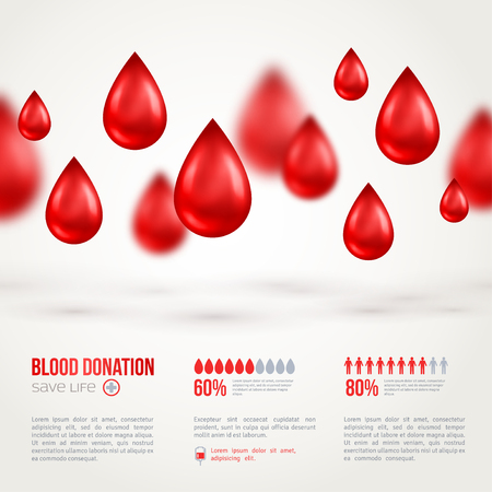 blood: Donor Poster or Flyer. Blood Donation Lifesaving and Hospital Assistance. Vector illustration. World Blood Donor Day Banner. Creative Blood Drop. Medical Design Elements. Illustration