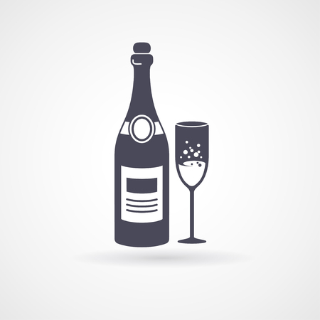 champagne bottle: Champagne and glass flat icons. Vector illustration. Black silhouettes of bottle and wineglass with wine inside Illustration
