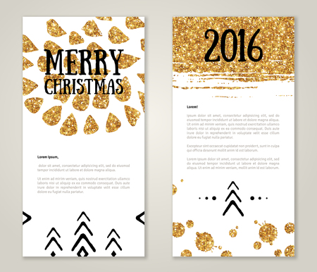 are gold: Cute New Year 2016 Greeting Cards with Gold Confetti Glitter Texture. Vector illustration. Sequins Pattern. Lights and Sparkles. Glowing New Year or Christmas Poster. Golden paint stroke and stain.