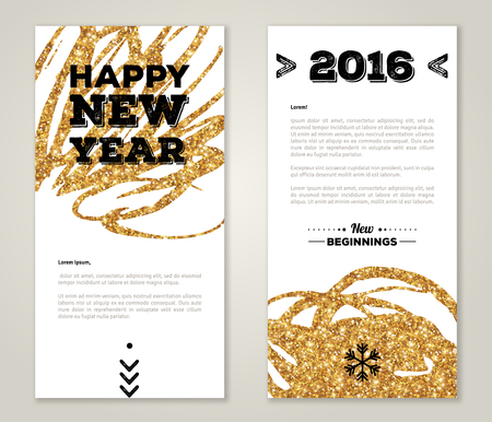 chinese new year decoration: Modern Greeting Card Design with Golden Paint Stains and Typographic Design. Vector Illustration. Gold Brush Stroke. Happy New Year 2016 Poster Invitation Template.
