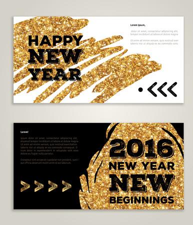 oro: Dibujado a mano A�o Nuevo 2016 invitaciones art�sticas con moda mancha de pintura dorada y dise�o tipogr�fico. Ilustraci�n del vector. Nuevos comienzos. Saludos de la estaci�n. Feliz A�o Nuevo 2016 de la pintura del oro en negro