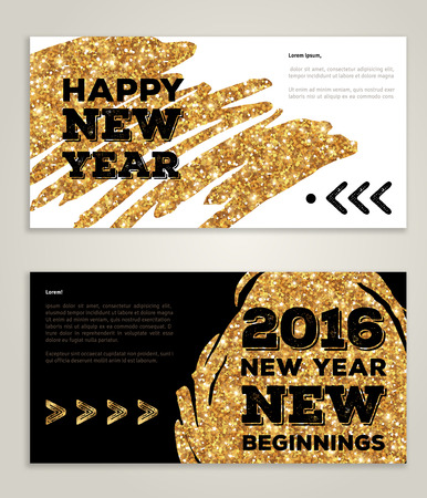 gold: Hand drawn New Year 2016 artistic invitations with trendy golden paint stain and typographic design. Vector illustration. New beginnings. Season greetings. Happy New Year 2016. Gold paint on black