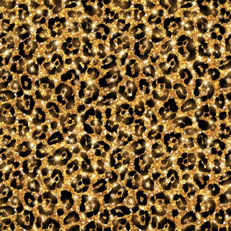 Naadloze gouden luipaard patroon. Vector illustratie. Glanzende mode wilde achtergrond. Chique dierlijke druk, luipaard textuur. Shining feestelijke achtergrond. Creatieve wilde dier tegels. Stock Illustratie