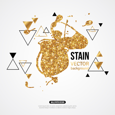 geometric shapes: Splatter Paint Banner. Vector Illustration. Golden Pattern Background with Paint Splash and Geometric Shapes. Creative Banner, Poster Design, Identity Background. Place for Text. Gold Glitter Texture