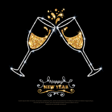 Sparkling gold silver champagne glasses. Vector illustration. Happy New Year Lettering concept. Place for your text message. Vectores