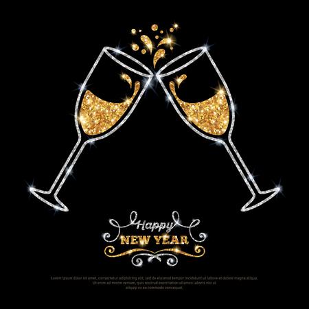 amarillo y negro: Oro espumosos copas de champ�n de plata. Ilustraci�n del vector. Feliz A�o Nuevo concepto de letras. Lugar para el mensaje de texto.