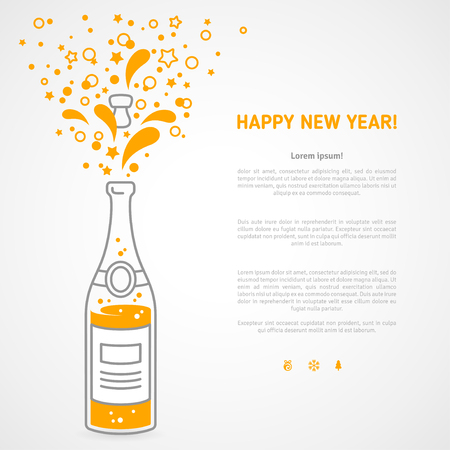 popping cork: Happy new year 2016 greeting card or poster design with minimalistic line flat champagne explosion bottle and place for your text message. Vector illustration. Starts and particles foam splash.