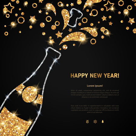 popping cork: Happy new year 2016 greeting card or poster design with shining glittering gold champagne explosion bottle and place for your text message. Vector illustration. Glowing starts and particles splash. Illustration
