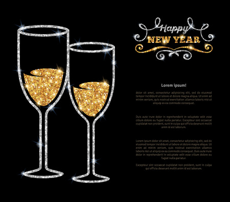 silver: Champagne glasses glowing holiday background. Vector illustration. Concept with shining silver glasses and sparkling gold champagne inside. Place for your text message. Happy New Year lettering.