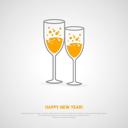 champagne glasses: Champagne glasses holiday background. Vector illustration. Minimalistic concept with line style glass and sparkling champagne inside. Place for your text message. Illustration
