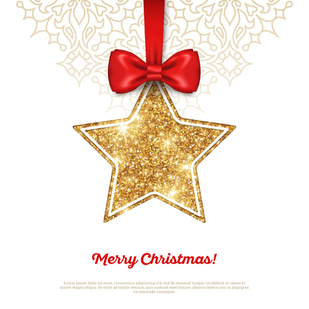 stars: Greeting Card with Shining Gold Star Bauble and Red Silk Ribbon. Vector illustration. Happy New Year, Merry Christmas, Seasons Greetings.