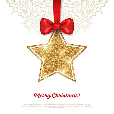 estrella: Tarjeta de felicitaci�n con Shining Gold Star de la chucher�a y cinta de seda roja. Ilustraci�n del vector. Feliz A�o Nuevo, Feliz Navidad, saludos de las estaciones. Vectores
