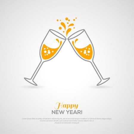 nowy rok: Musujące kieliszki do szampana. Ilustracji wektorowych. Koncepcja stylu minimalistycznym z lampką musującego szampana linii i wewnątrz. Miejsce dla Twojej wiadomości tekstowej.